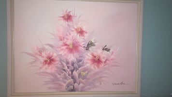 White and pink floral print painting