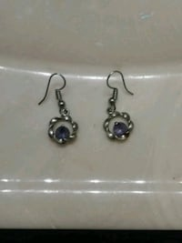 Silver earrings with a purple stud in middle Eden, 27288