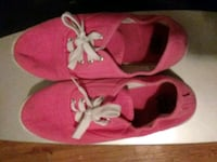 pair of pink-and-white low top sneakers