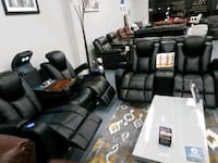 BRAND NEW SOFA AND LOVE BLACK LEATHER POWER
