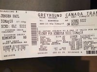 Greyhound ticket to fort mac good till may 31/2018 Calgary, T2A 5E6
