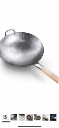 Stainless steel wok with stand and brush