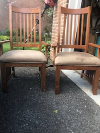 two brown wooden framed white padded chairs Montgomery Village, 20886