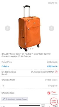 "(DELSEY Paris) Delsey En Route 24"" Expandable Spinner Checked Luggage- (Color:Orange) Nashville, 37013"
