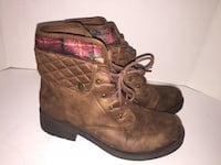 American Eagle Fall Plaid Lace-Up Brown Boots Size 7.5 Oshawa, L1G 5N5