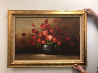 Large floral oil painting on canvas  Toronto, M2R 3N1