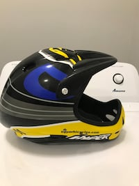 black, blue, white, and yellow Hyper off-road helmet
