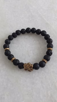 Black and brown beaded bracelet with paw print charm Ashburn, 20148