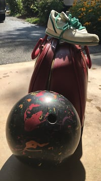 bowling ball, shoes size 7 and case
