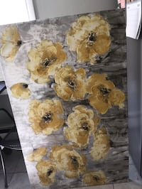 Grey and Yellow Flower Canvas