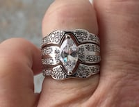 Luxury Marquese 3 Ring Sterling Silver Wedding Set Baltimore