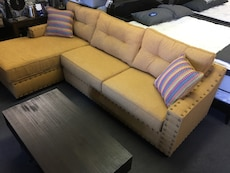 Mustard Yellow Sectional Chaise with Accent Pillow and Studs