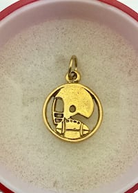 New gold plated football with helmet pendant charm