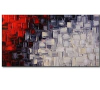 Wall art hand painted red, black and white Washington, 20001