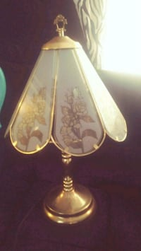 brass-colored frame floral printed shade table lamp Semmes, 36575
