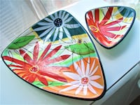 2 HAND PAINTED CERAMIC TRAYS,BOWLS, DECORATIVE PIECES - PERFECT Ottawa