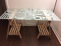 Ikea egg pattern glass top with natural color trestle