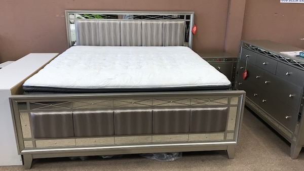 Used Metallic Mercury King Queen Size Bed Frame Headboard Footboard