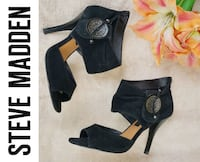 Steve Madden Black Suede Peep Toe Booties Shooties Stiletto Heels 7.5 Lanham