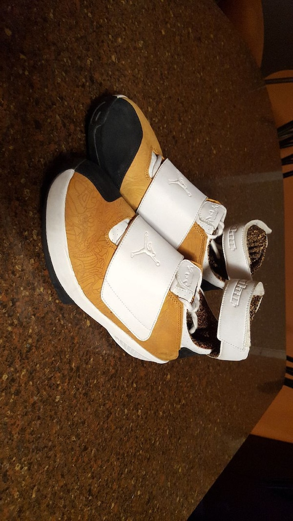 white-and-beige Air Jordan shoes
