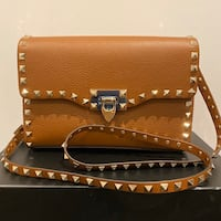 Valentino Brown Small Rockstud Shoulder Bag