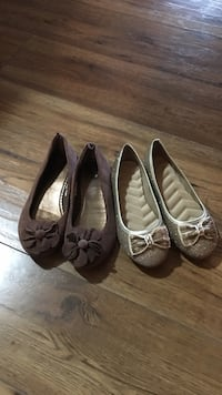 two pairs of brown, and green flat shoes