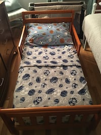 Toddler bed,mattress,mattress pad,& sheet set(blanket not included)