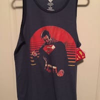 black and red Superman racerback tank top men's