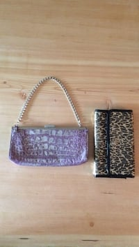 Sooner and Burke purple alligator clutch and black and gold Betsy Johnson clutch. Sold individually  Kelowna, V1Y