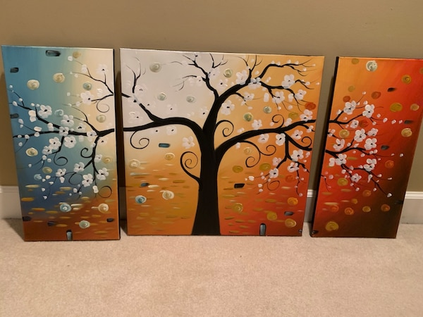 Four assorted color abstract paintings