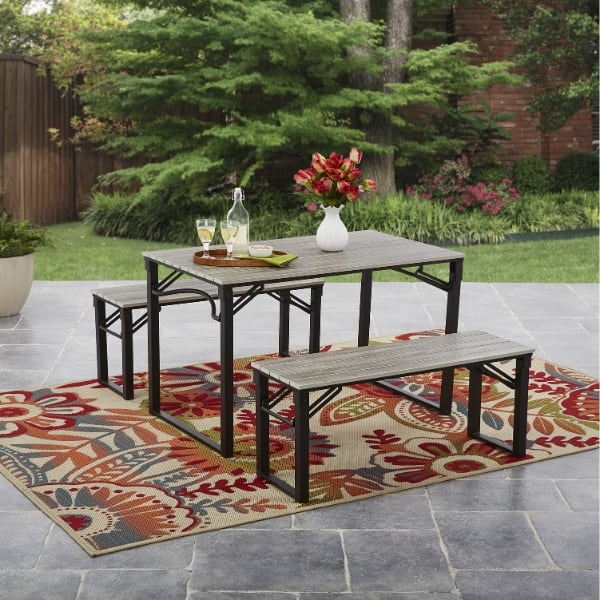 Faux Wood Folding Picnic Table and Bench Set