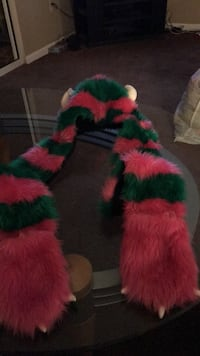 """Fur """"monster"""" hat with attached  mittens 540 mi"""