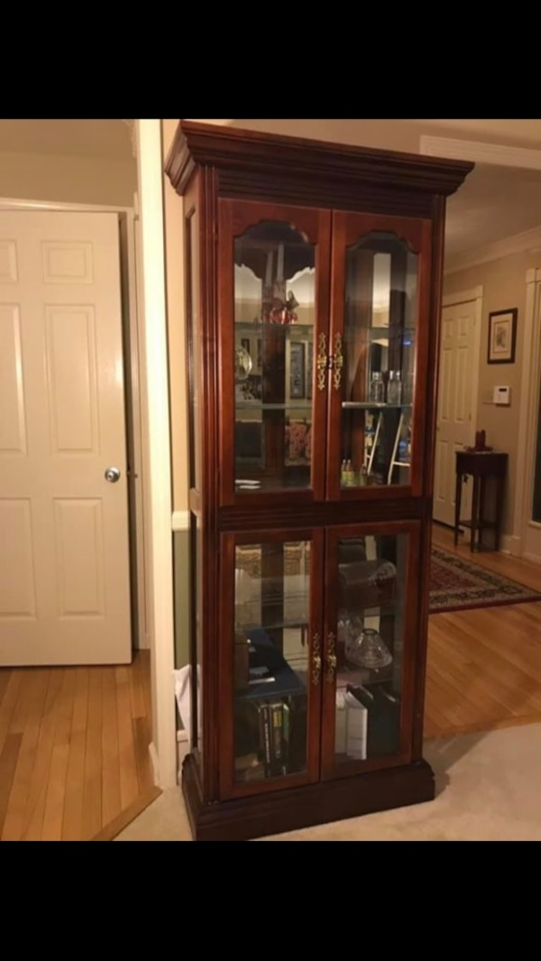 Used Cherry And Gl 6 Shelf Curio Cabinet With Top Inside Light 4 Shelves Are Doors For In Freehold Letgo