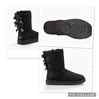black leather chunky heeled boots collage Milwaukee, 53206