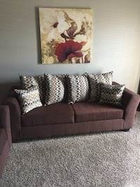 Brown fabric 2-seat sofa with throw pillows Dallas, 75240