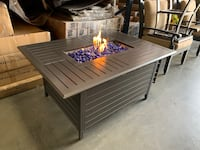 "51"" Rectangular Aluminum Fire Pit Table w/ 17lb  Clear Ice Fire-glass Ontario, 91761"