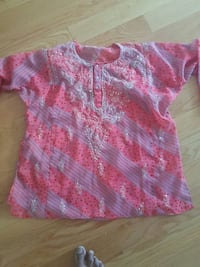 purple and pink stripe henley shirt