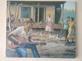 Country Guitarist 3 ft by 3 ft Oil painting on