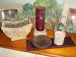Lot of Pottery Decor Candle Holders Planter Candle Tray & Candle