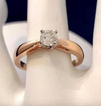 14K Rose Gold .36ct. Diamond Solitaire Engagement Ring * compare $3200