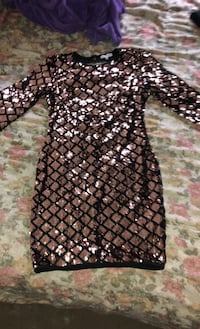 Gold sequin fitted dress