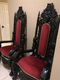Two Red-and-Black Throne King Queen Chair Set (2) Escondido, 92026