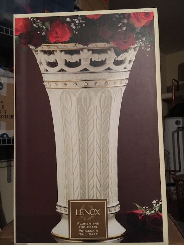 Used Lenox Florentine And Pearl Porcelain Tall Vase For Sale In