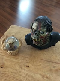 2 Gross or Halloween items. Zombie bust, and skull globe...look at pics Toledo, 43615