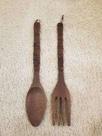 Vintage Oversized Wooden fork and spoon set - wall Falls Church