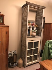 Handmade old barn wood and shutters stand