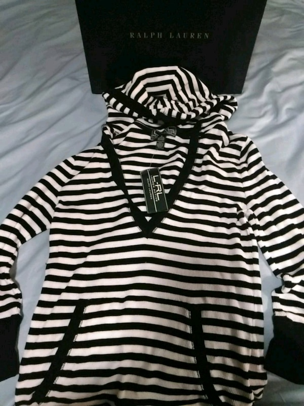 Navy blue and white striped Ralph Lauren hooded