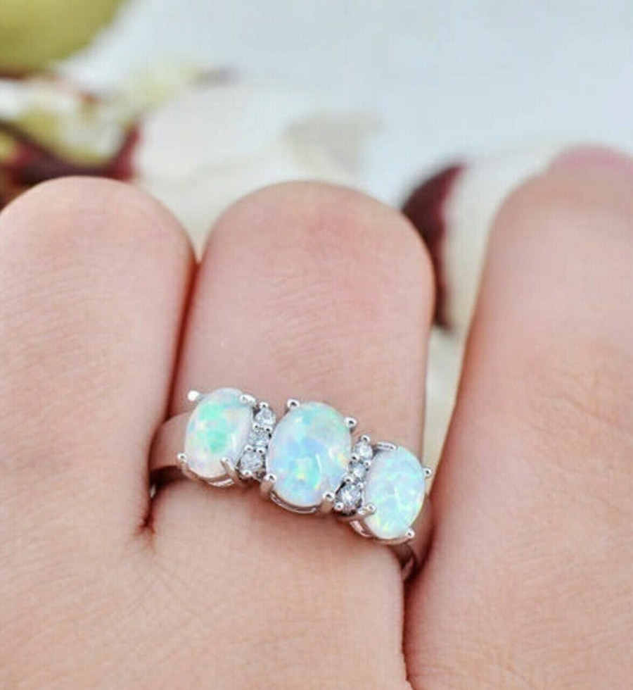 Photo (Shipped Only) White Opal Ring in 925 Sterling Silver Sz6-9