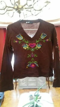 brown and green floral long-sleeved shirt Montréal, H4N 2Z4