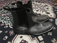 Pair of black leather chelsea boots
